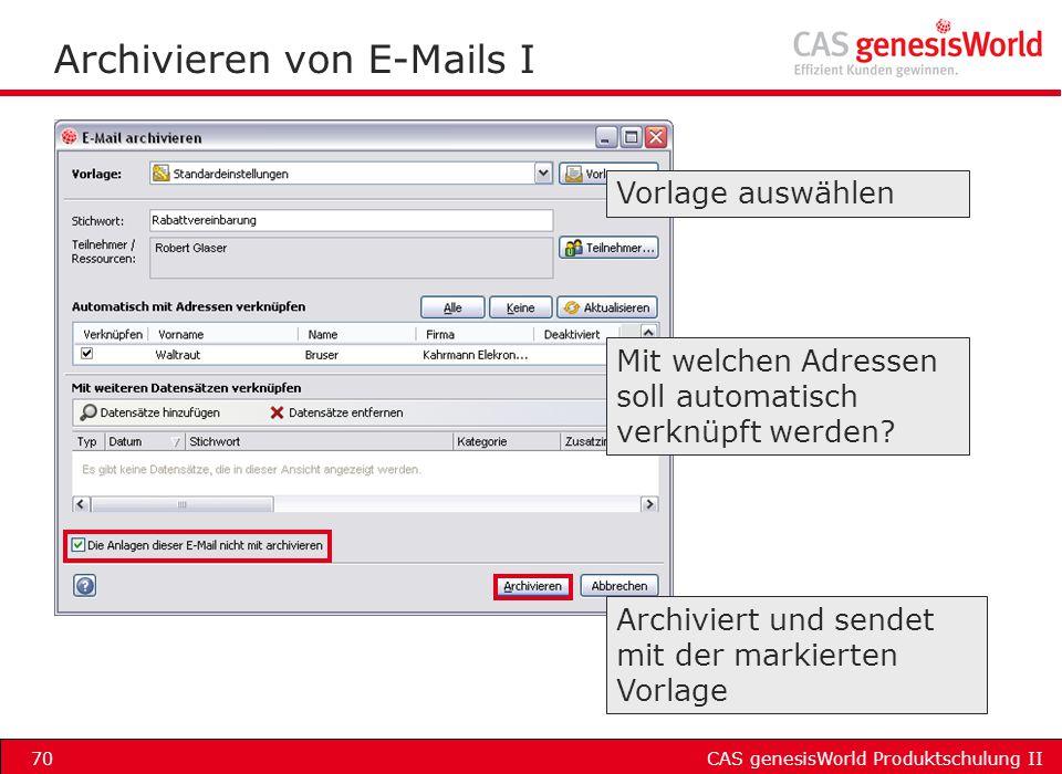Archivieren von E-Mails I