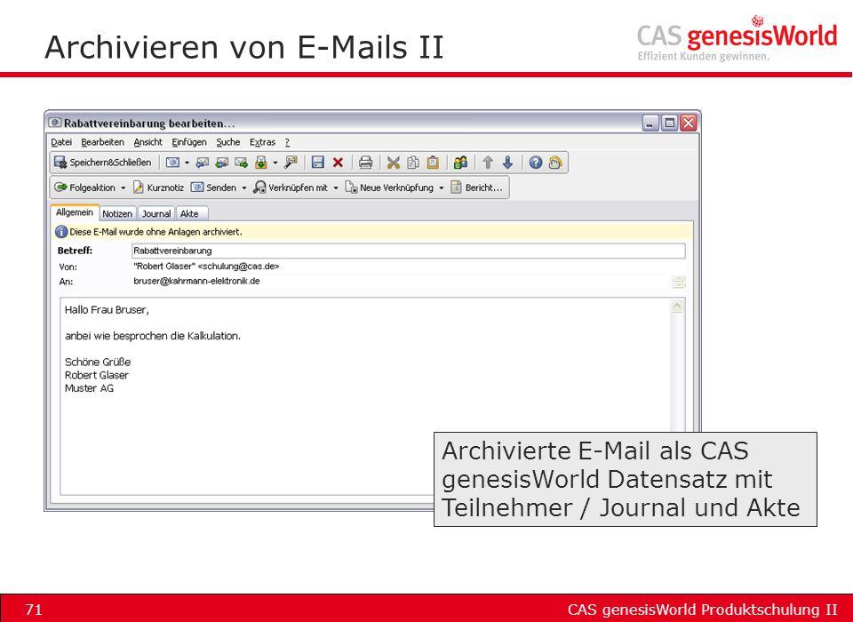 Archivieren von E-Mails II