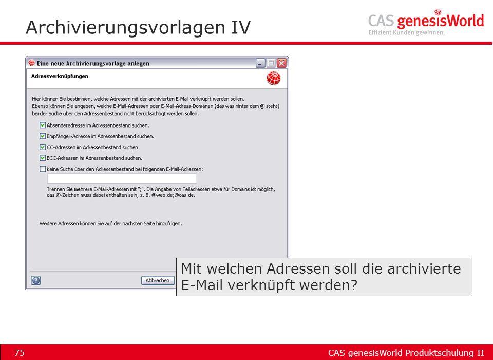 Archivierungsvorlagen IV
