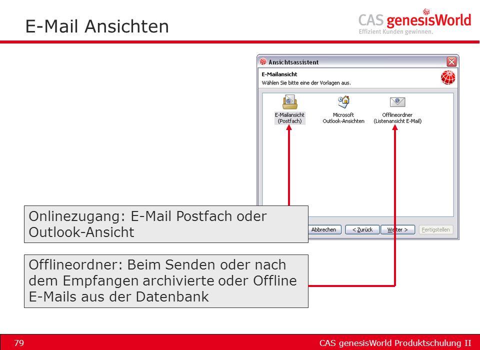 E-Mail Ansichten Onlinezugang: E-Mail Postfach oder Outlook-Ansicht