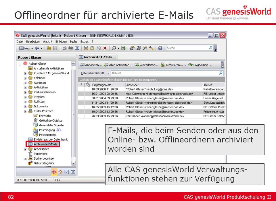 Offlineordner für archivierte E-Mails