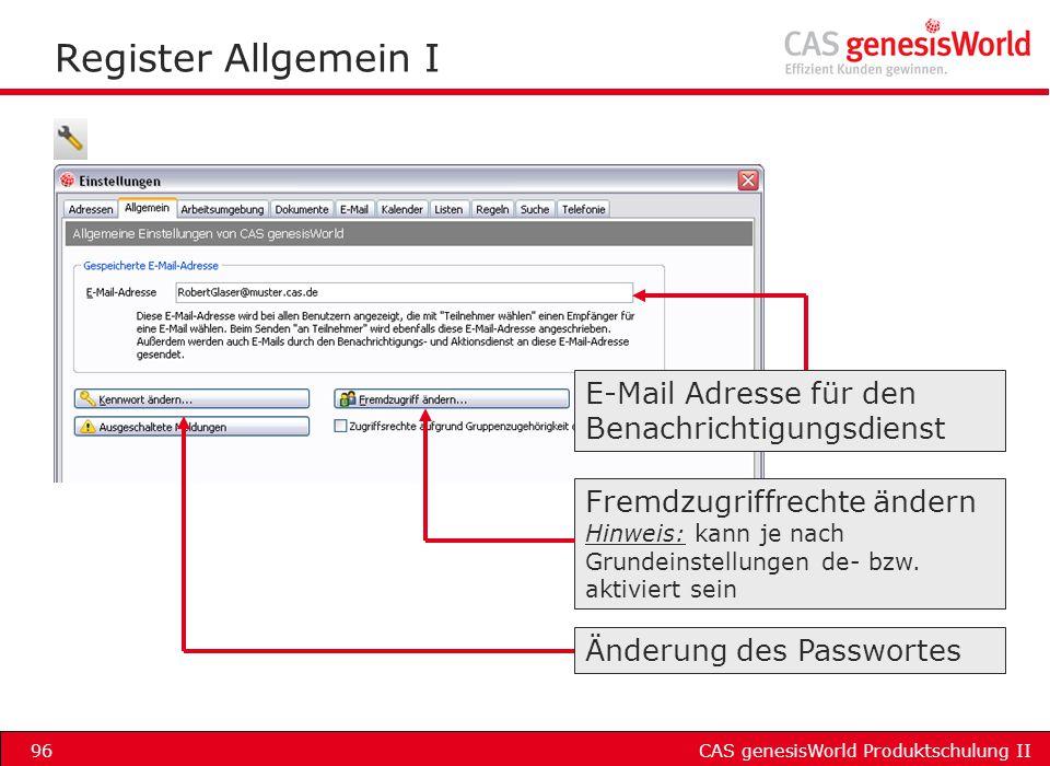 Register Allgemein I E-Mail Adresse für den Benachrichtigungsdienst
