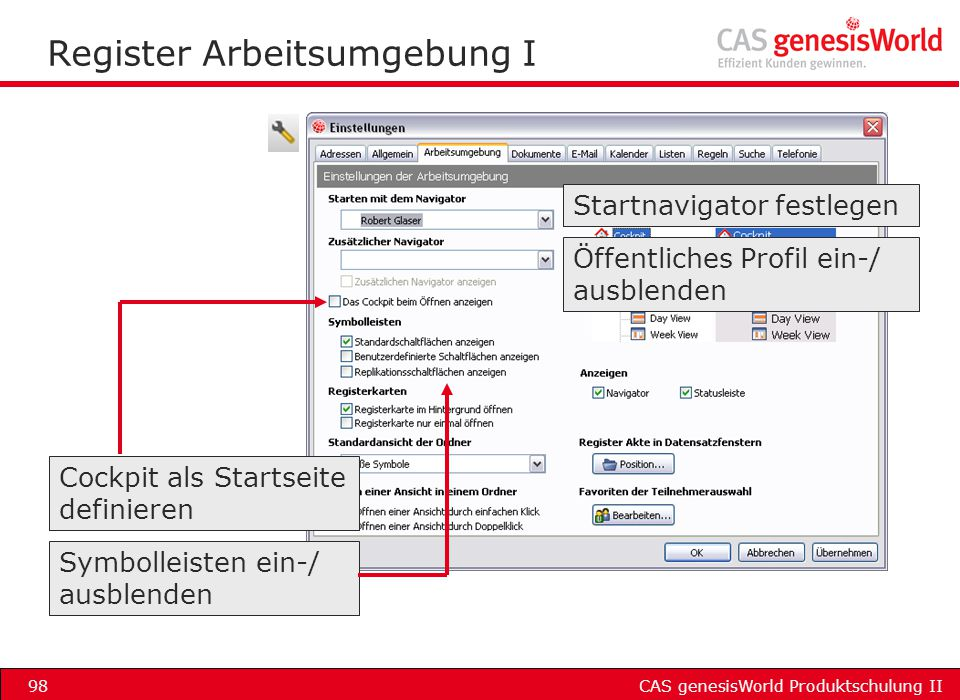 Register Arbeitsumgebung I