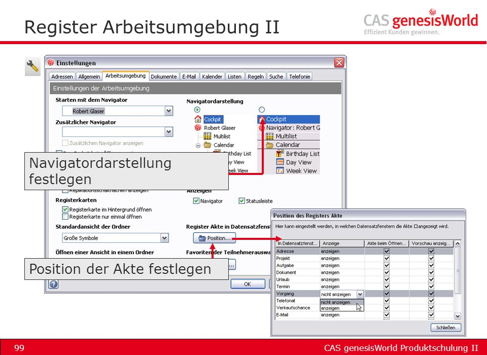 Register Arbeitsumgebung II