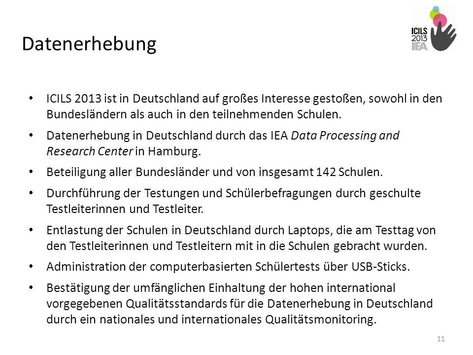Datenerhebung ICILS 2013 ist in Deutschland auf großes Interesse gestoßen, sowohl in den Bundesländern als auch in den teilnehmenden Schulen.