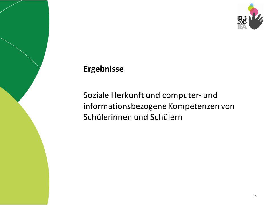 Ergebnisse Soziale Herkunft und computer- und informationsbezogene Kompetenzen von Schülerinnen und Schülern.