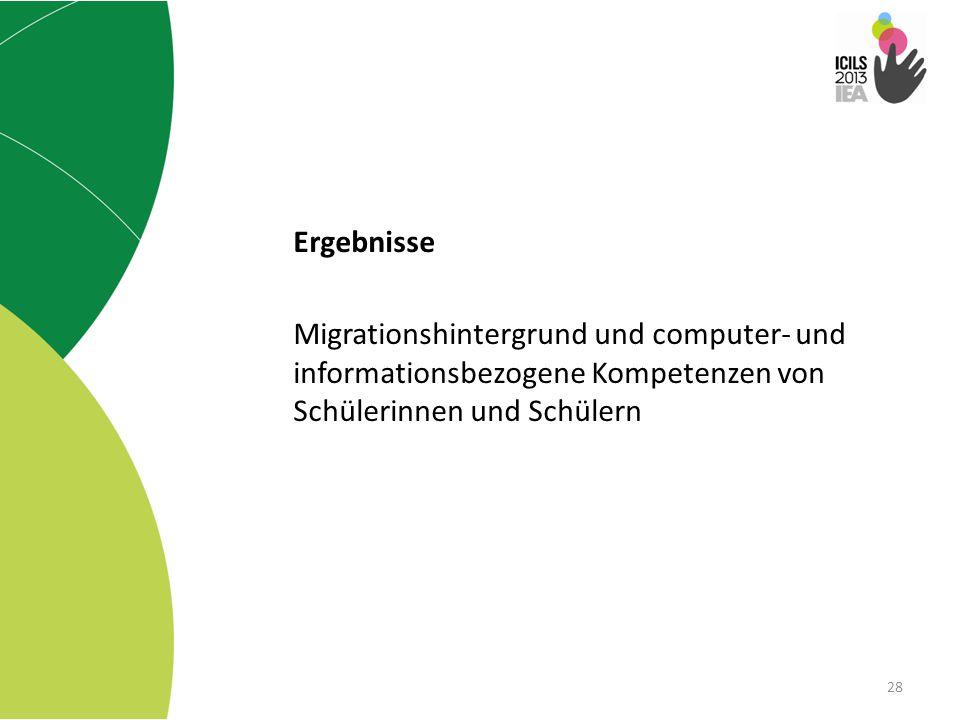 Ergebnisse Migrationshintergrund und computer- und informationsbezogene Kompetenzen von Schülerinnen und Schülern.