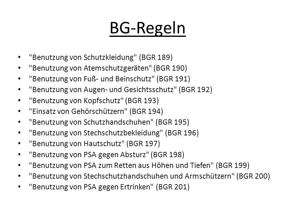 BG-Regeln Benutzung von Schutzkleidung (BGR 189)