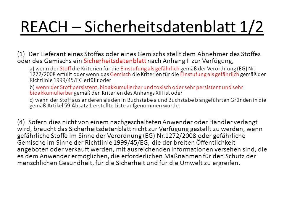 REACH – Sicherheitsdatenblatt 1/2