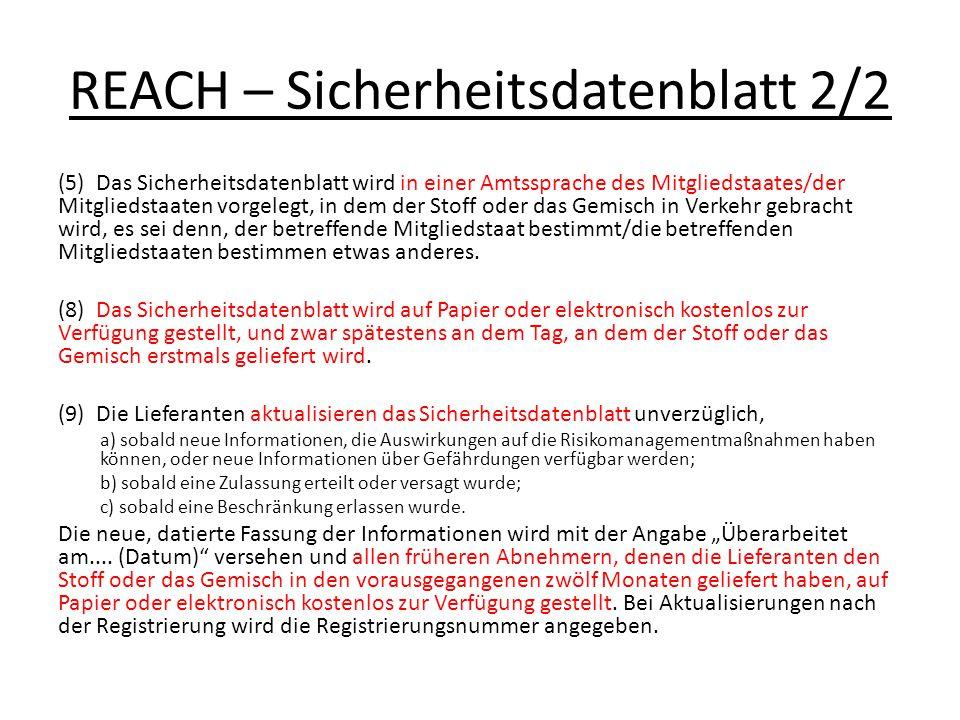 REACH – Sicherheitsdatenblatt 2/2