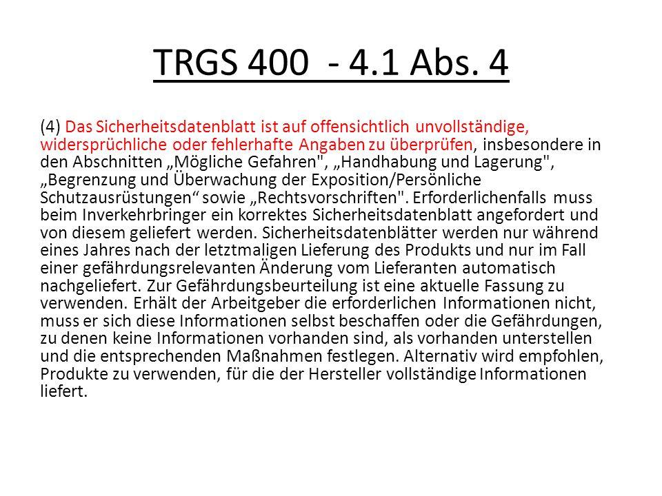 TRGS 400 - 4.1 Abs. 4