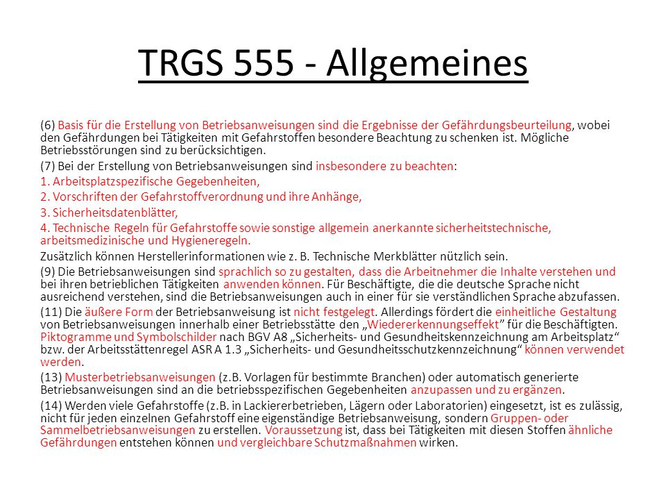 TRGS 555 - Allgemeines