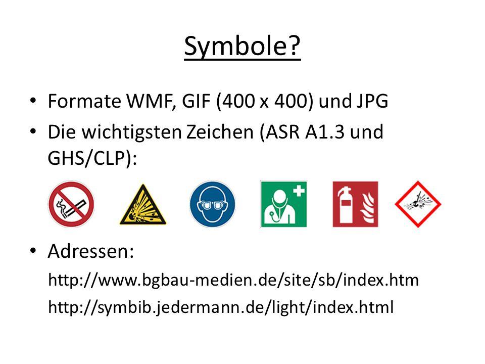 Symbole Formate WMF, GIF (400 x 400) und JPG