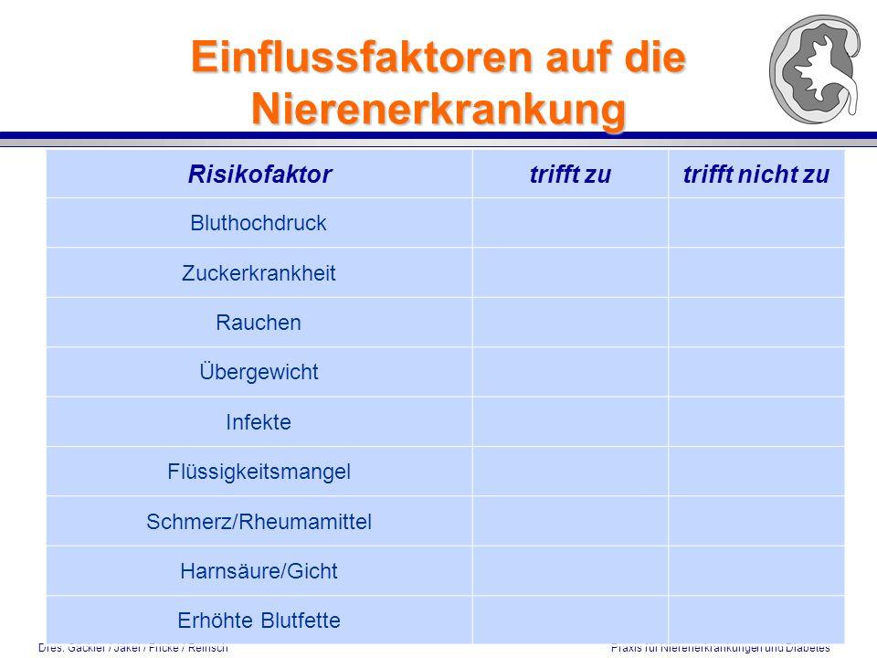Einflussfaktoren auf die Nierenerkrankung