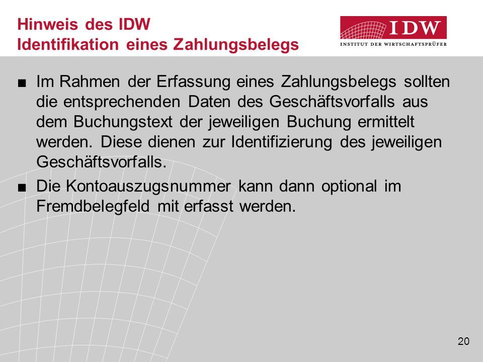 Hinweis des IDW Identifikation eines Zahlungsbelegs