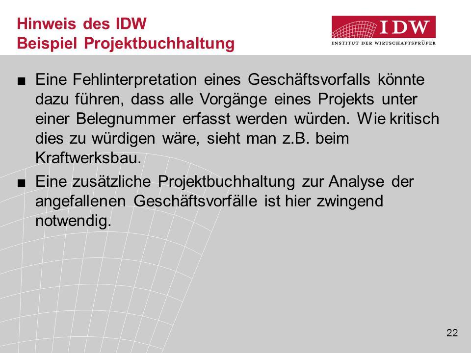 Hinweis des IDW Beispiel Projektbuchhaltung