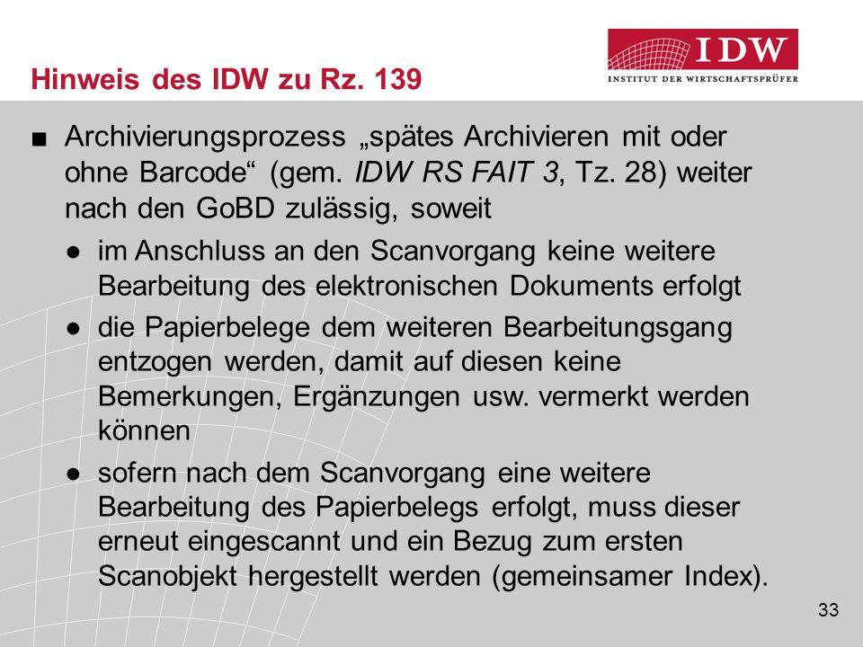 Hinweis des IDW zu Rz. 139