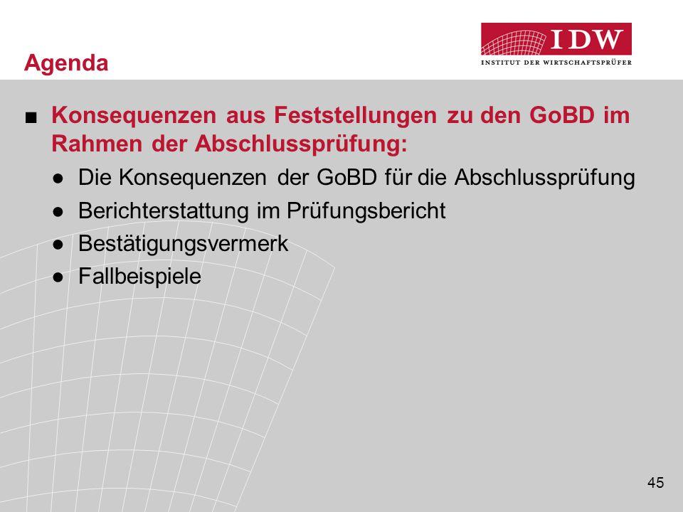 Agenda Konsequenzen aus Feststellungen zu den GoBD im Rahmen der Abschlussprüfung: Die Konsequenzen der GoBD für die Abschlussprüfung.