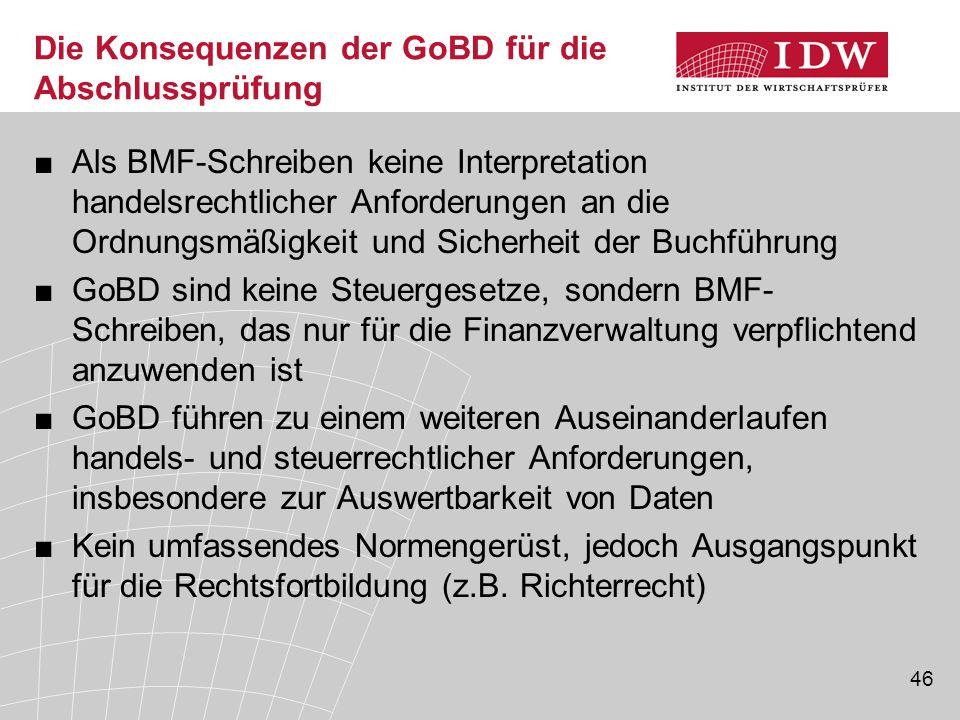 Die Konsequenzen der GoBD für die Abschlussprüfung