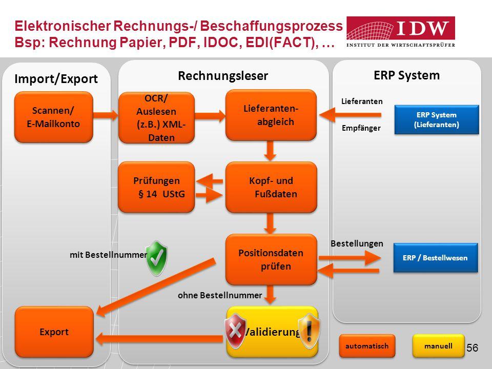 Import/Export Rechnungsleser ERP System