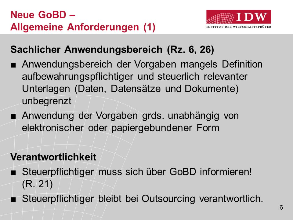 Neue GoBD – Allgemeine Anforderungen (1)