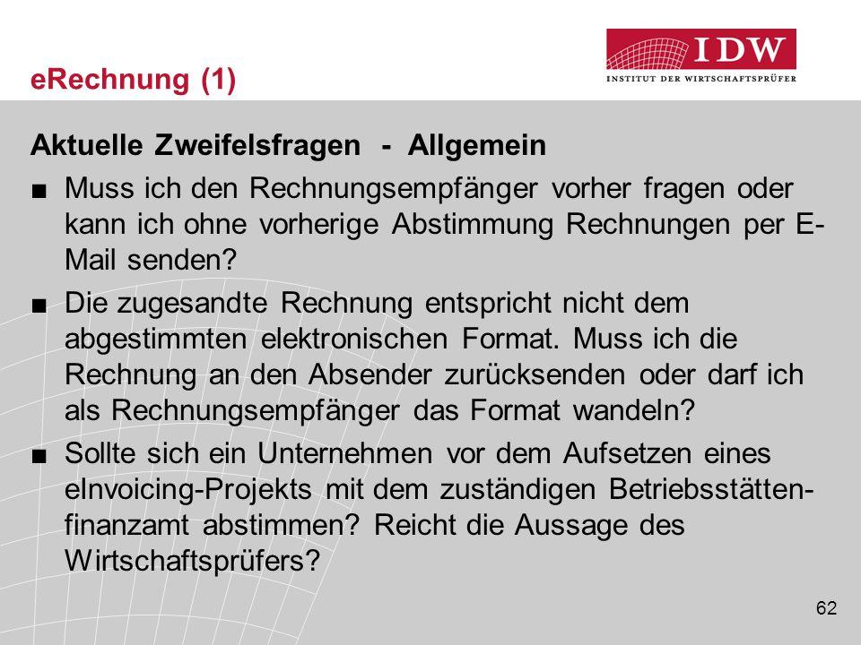 eRechnung (1) Aktuelle Zweifelsfragen - Allgemein.