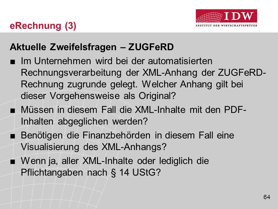 eRechnung (3) Aktuelle Zweifelsfragen – ZUGFeRD.