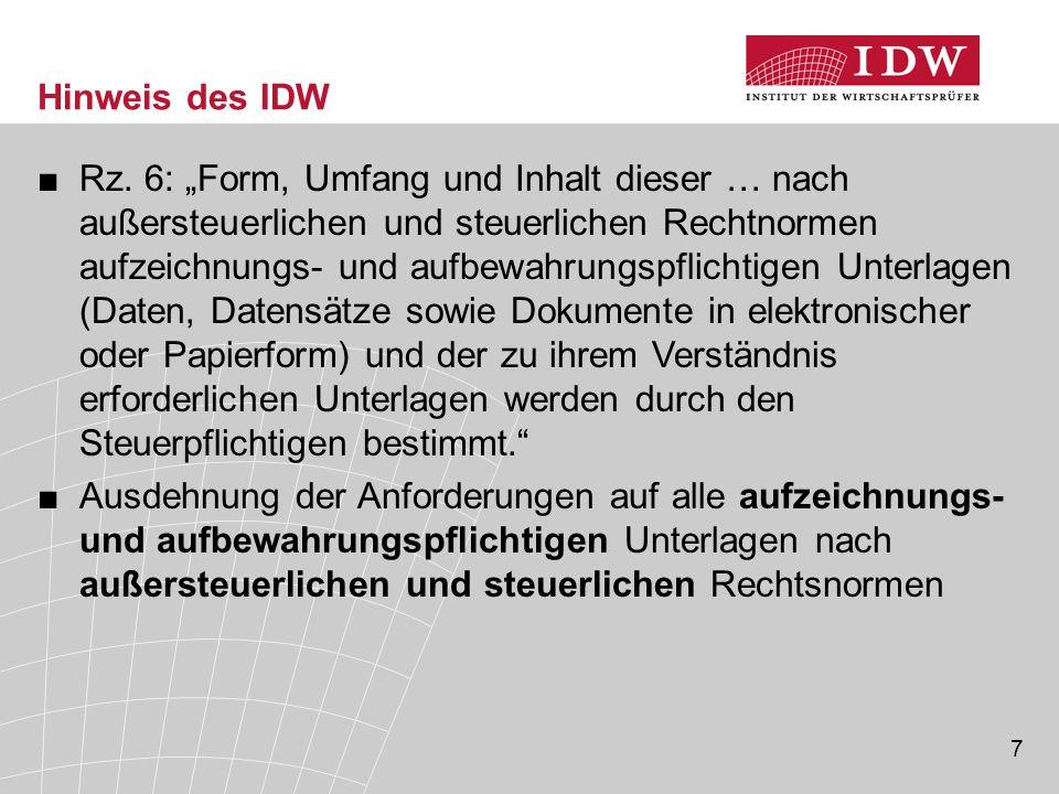 Hinweis des IDW