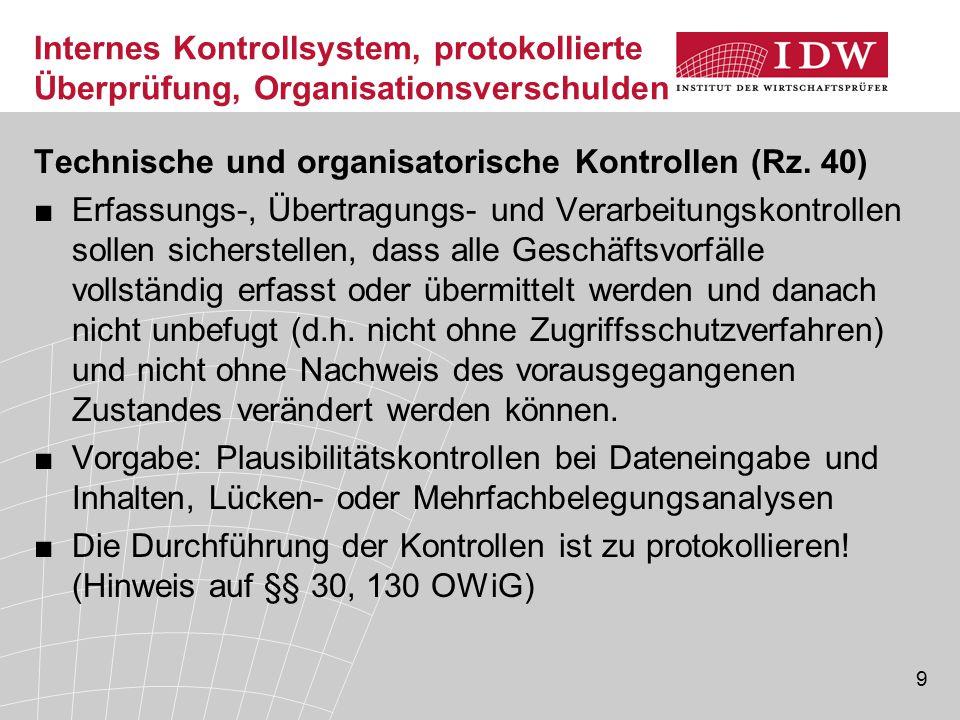 Internes Kontrollsystem, protokollierte Überprüfung, Organisationsverschulden