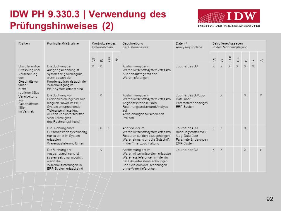 IDW PH 9.330.3 | Verwendung des Prüfungshinweises (2)