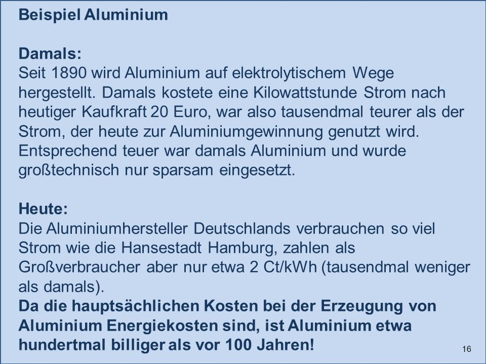 Beispiel Aluminium
