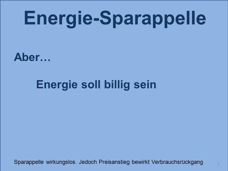 Energie-Sparappelle Aber… Energie soll billig sein