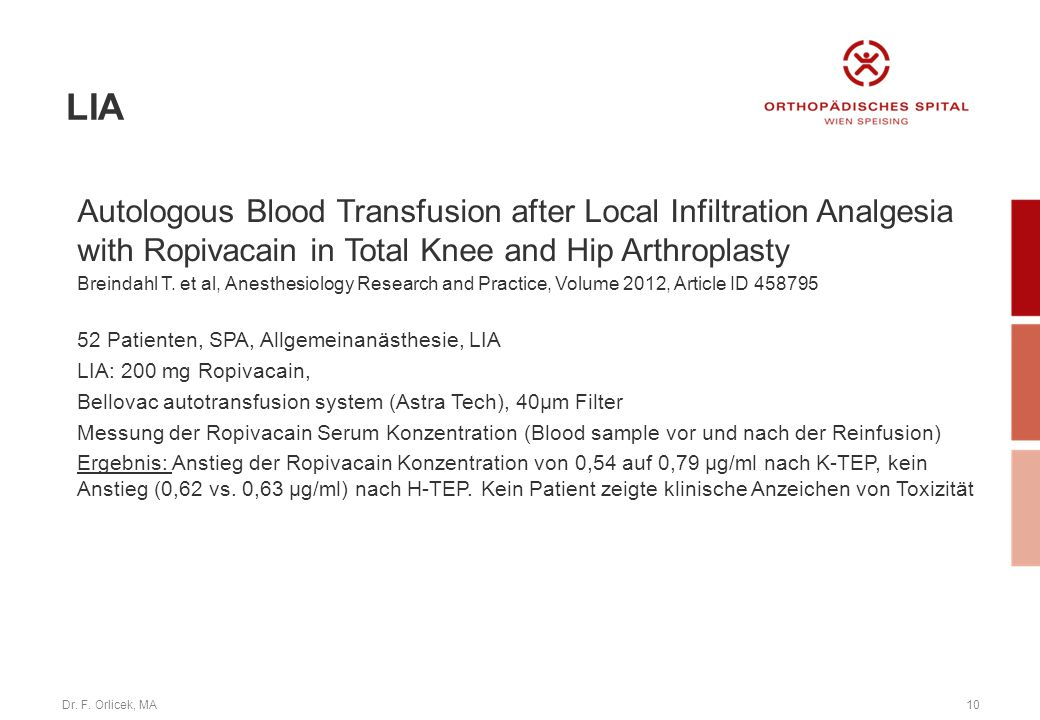 LIA Autologous Blood Transfusion after Local Infiltration Analgesia with Ropivacain in Total Knee and Hip Arthroplasty.