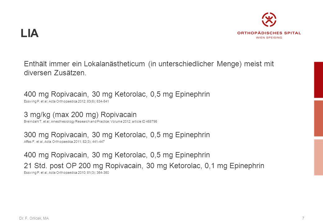 LIA Enthält immer ein Lokalanästheticum (in unterschiedlicher Menge) meist mit diversen Zusätzen.