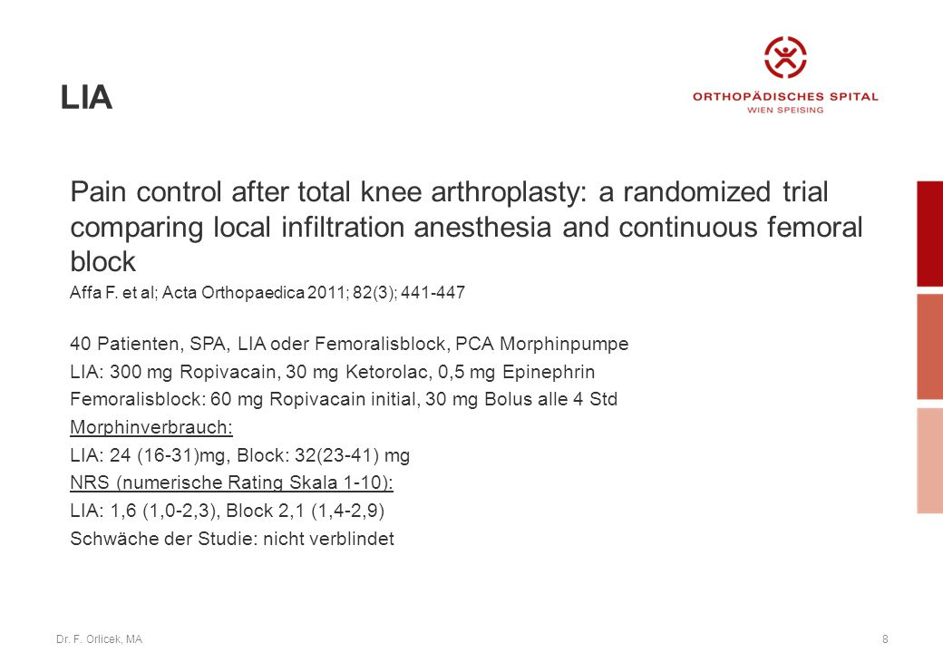 LIA Pain control after total knee arthroplasty: a randomized trial comparing local infiltration anesthesia and continuous femoral block.