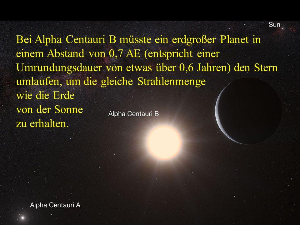 Bei Alpha Centauri B müsste ein erdgroßer Planet in einem Abstand von 0,7 AE (entspricht einer Umrundungsdauer von etwas über 0,6 Jahren) den Stern umlaufen, um die gleiche Strahlenmenge