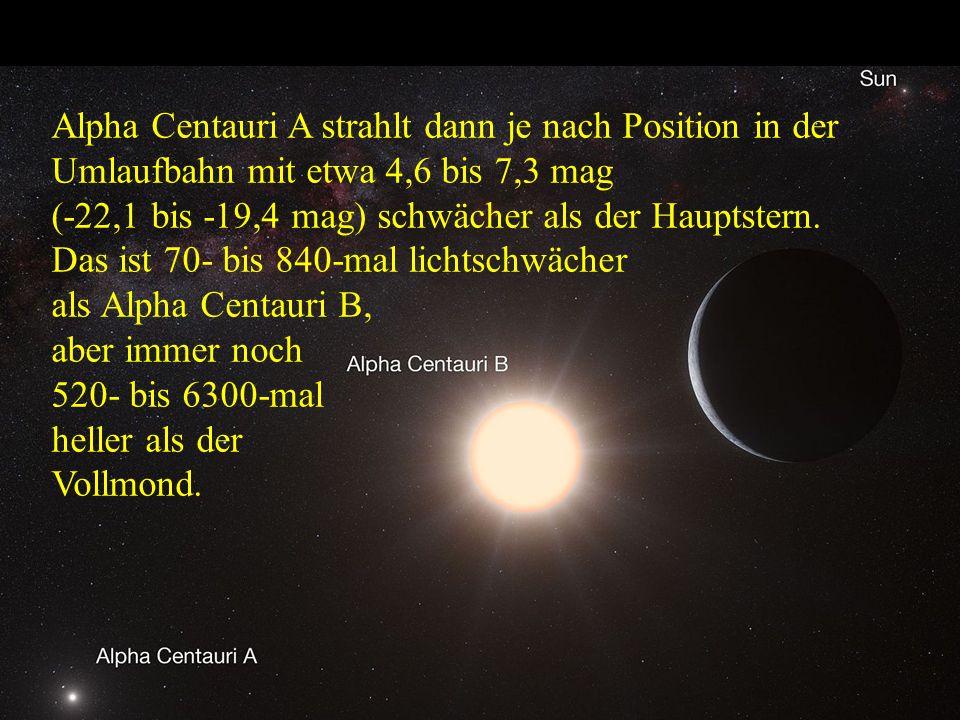 Alpha Centauri A strahlt dann je nach Position in der Umlaufbahn mit etwa 4,6 bis 7,3 mag