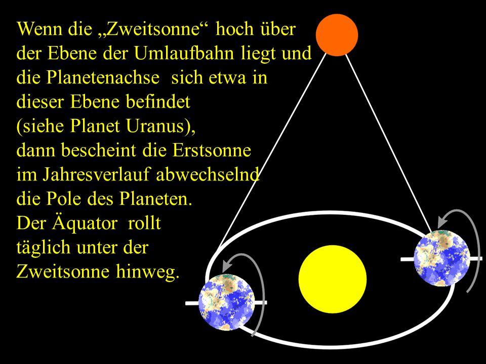 """Wenn die """"Zweitsonne hoch über der Ebene der Umlaufbahn liegt und die Planetenachse sich etwa in dieser Ebene befindet"""