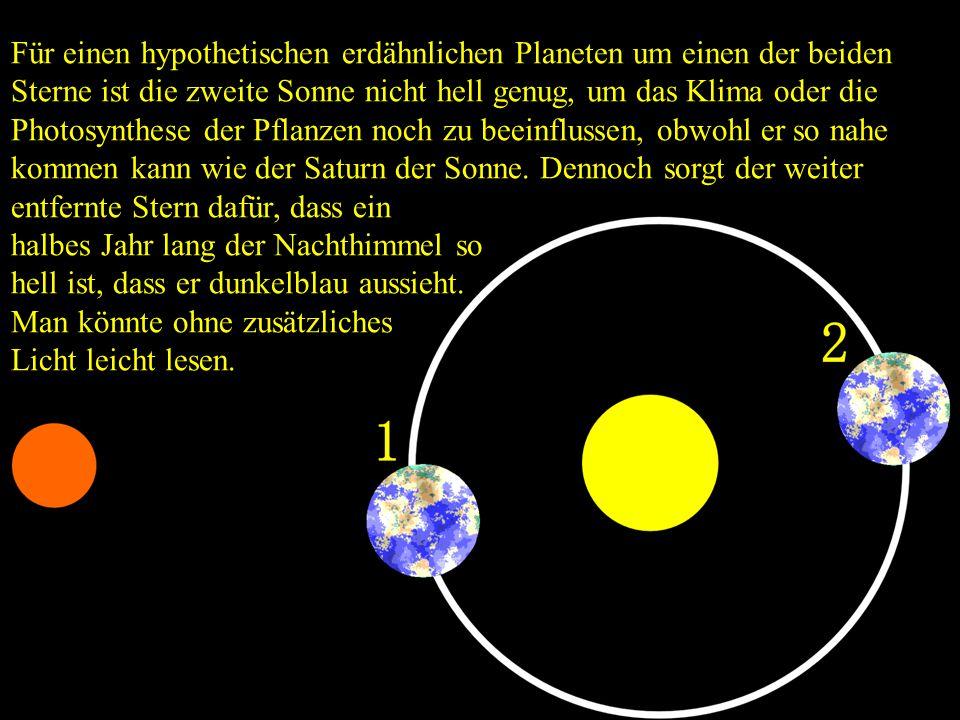 Für einen hypothetischen erdähnlichen Planeten um einen der beiden Sterne ist die zweite Sonne nicht hell genug, um das Klima oder die Photosynthese der Pflanzen noch zu beeinflussen, obwohl er so nahe kommen kann wie der Saturn der Sonne. Dennoch sorgt der weiter entfernte Stern dafür, dass ein