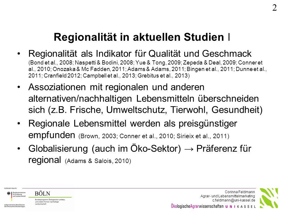 Regionalität in aktuellen Studien ǁ