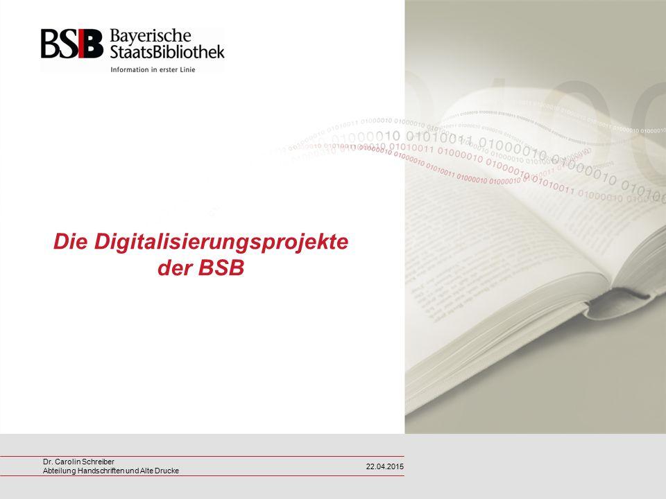 Die Digitalisierungsprojekte der BSB