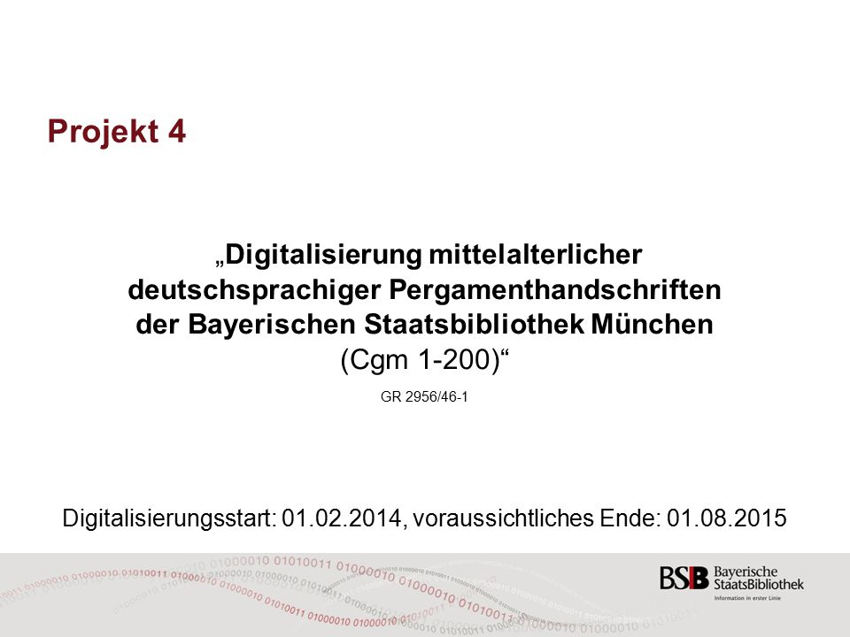 """Projekt 4 """"Digitalisierung mittelalterlicher"""