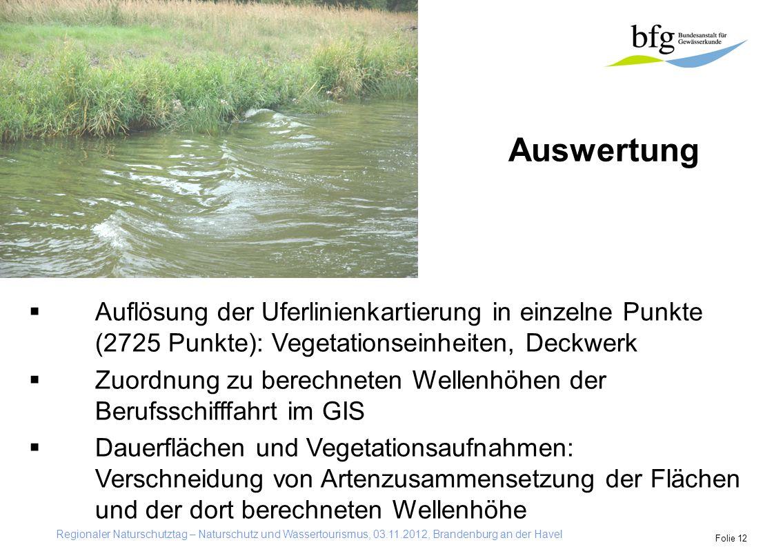 Auswertung Auflösung der Uferlinienkartierung in einzelne Punkte (2725 Punkte): Vegetationseinheiten, Deckwerk.