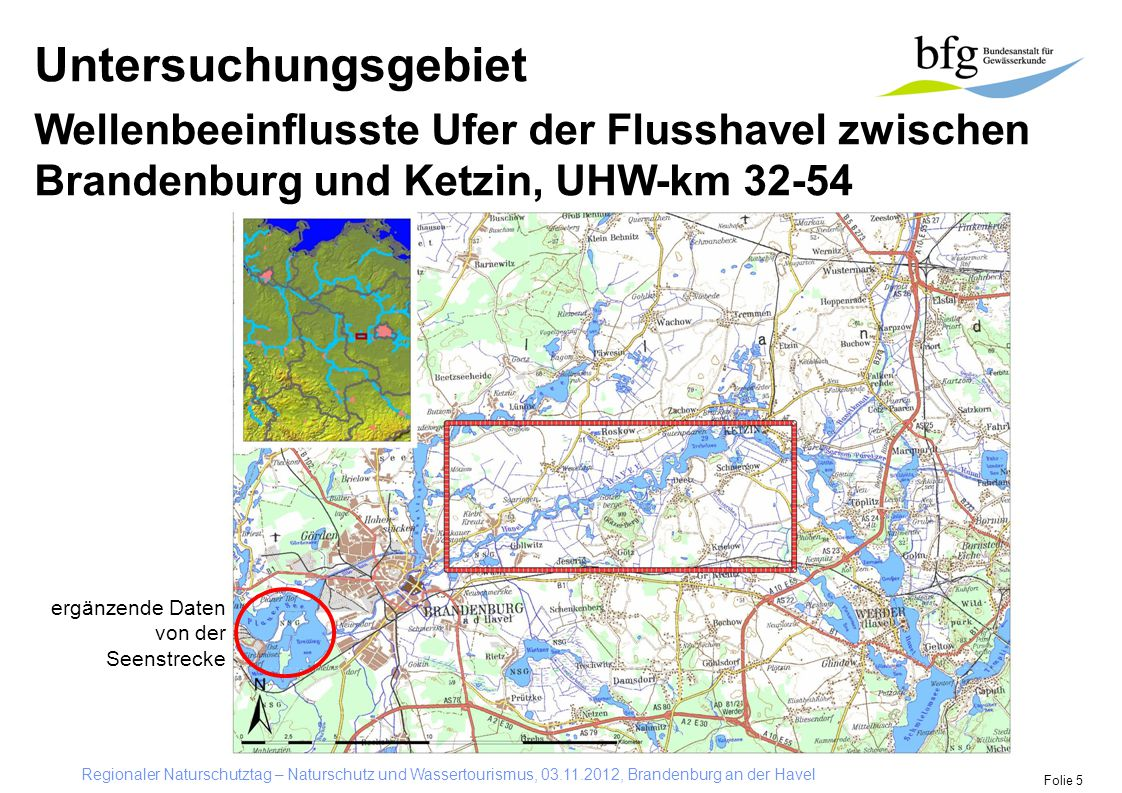 Untersuchungsgebiet Wellenbeeinflusste Ufer der Flusshavel zwischen Brandenburg und Ketzin, UHW-km 32-54.