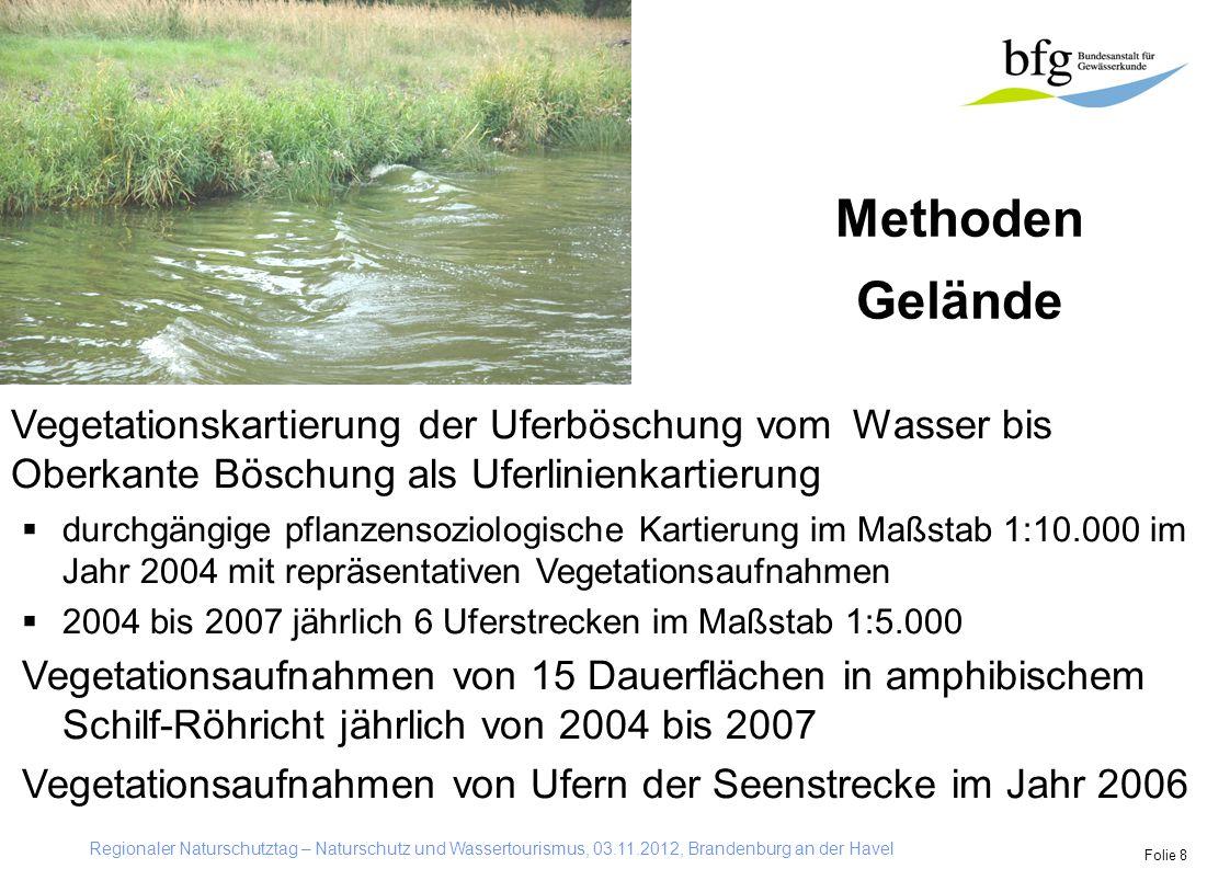 Methoden Gelände. Vegetationskartierung der Uferböschung vom Wasser bis Oberkante Böschung als Uferlinienkartierung.