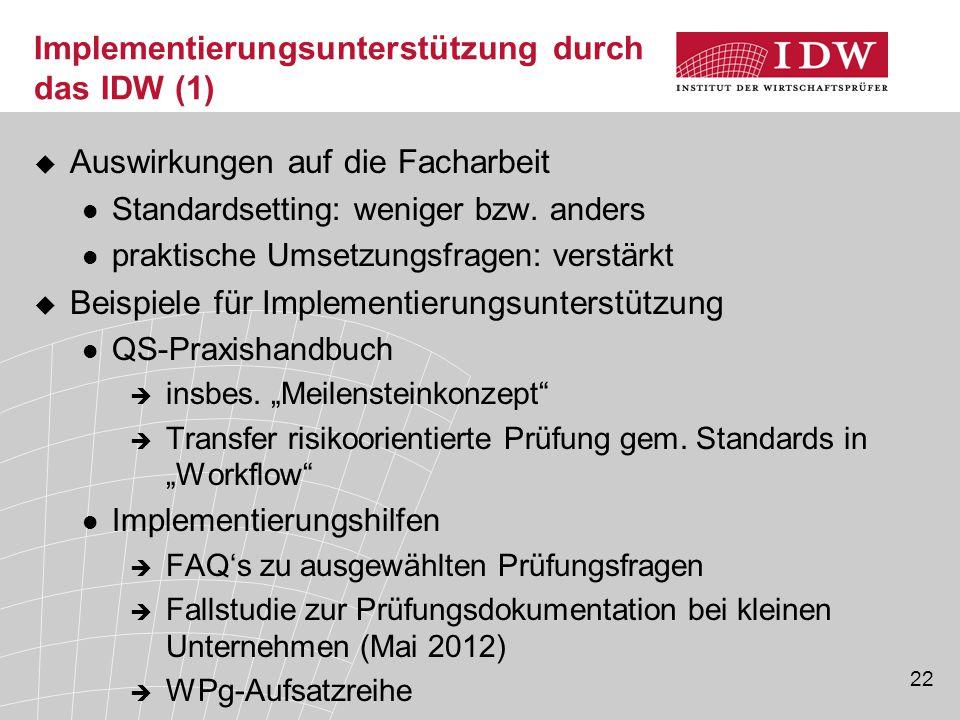 Implementierungsunterstützung durch das IDW (1)