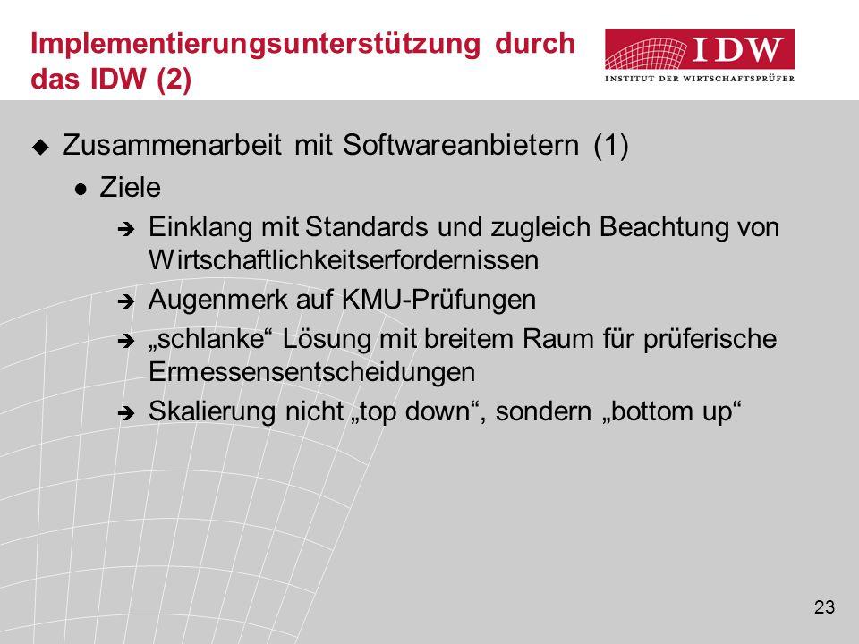 Implementierungsunterstützung durch das IDW (2)