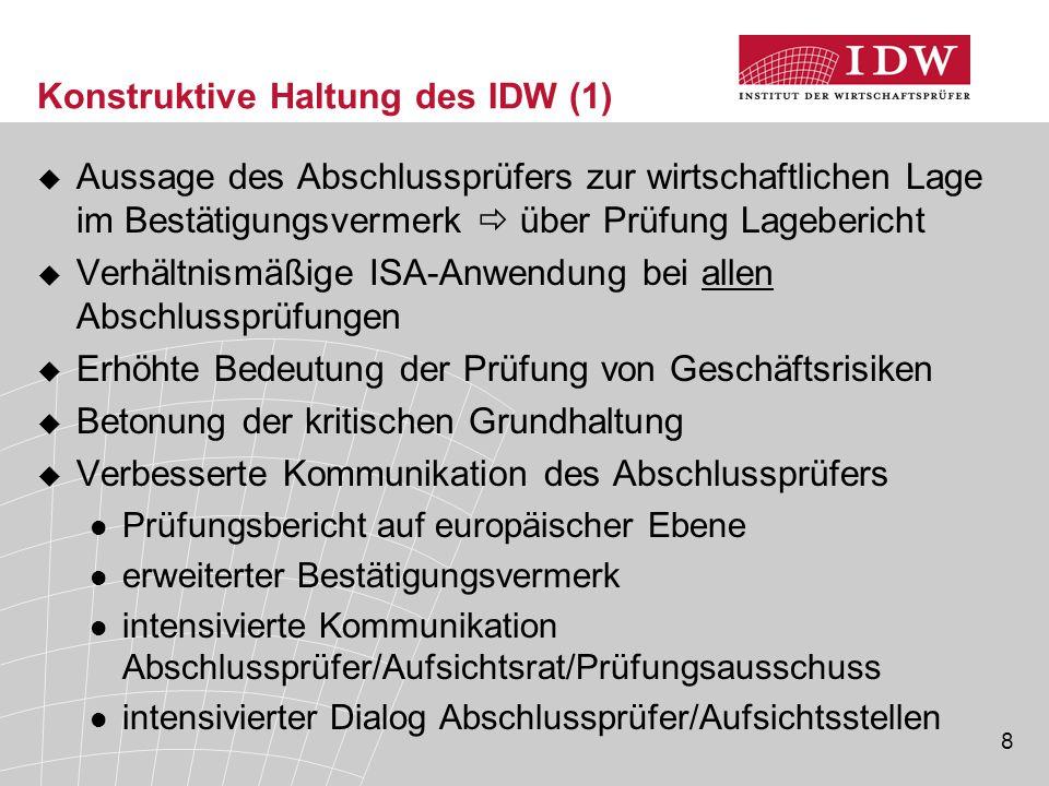 Konstruktive Haltung des IDW (1)