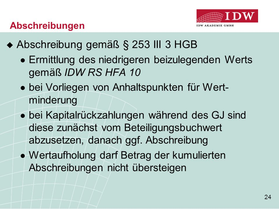 Abschreibung gemäß § 253 III 3 HGB