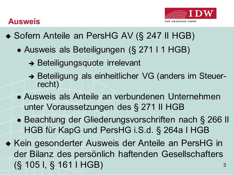Sofern Anteile an PersHG AV (§ 247 II HGB)